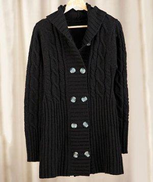 Women's (Black Medium 10 / 12) Long Hooded Cardigan