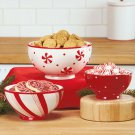 New Set of 3 Holiday Christmas Red / White Bowls