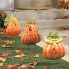 Set of 3 Iron Pumpkin Yard Stakes