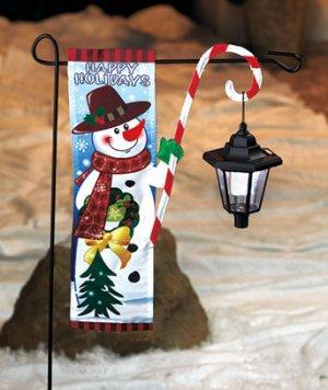 New Snowman Christmas Flag With Solar Lantern