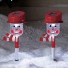 New Set of 2 Snowmen Holiday Solar Stake Set