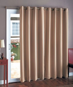 """New Sand Color 112"""" Wide Blackout Patio Curtain"""