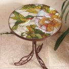 New Stained Glass Hummingbird Accent Iron Table