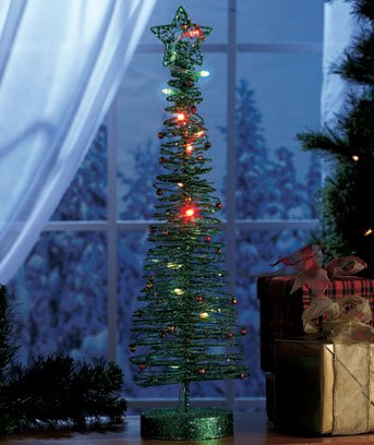 """New Green 20"""" Battery Operated LED Color Changing Christmas Tree"""