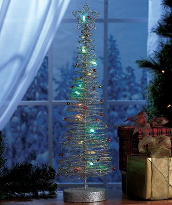 "New Silver 20"" Battery Operated LED Color Changing Christmas Tree"