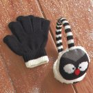 New Owl Design Kids' Knit Critter Earmuff and Glove Set