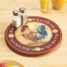 New Brown Rooster Design Wooden Rotating Lazy Table Top Kitchen Susan Server
