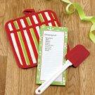 New 3 Pc Pot Holder Note Pad & Spatula Holiday Christmas Stripe  Design Gift Set