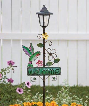 New Solar Metal Hummingbird Welcome Garden Decor Stake