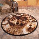 "New Wildlife Hunting Wolves 5' 2"" Round Decorative Rug"
