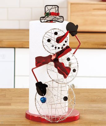New Metal Christmas Holiday Snoman Kitchen Paper Towel Holder