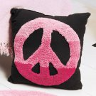 "New 14"" Pink Peace Sign Pillow Accent"
