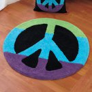"""New 30"""" Multicolored Peace Sign-Shaped Floor Rug"""