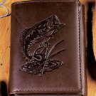 New Bass Genuine Leather Tri-Fold Wallet