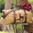New Outdoorsman Deer Canvas Brown and Tan Duffel Bag Tote