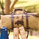 New Outdoorsman Bear Canvas Brown and Tan Duffel Bag Tote