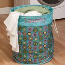 New Polyester Geometric Blue with Dots Laundry Room Storage Bin Hamper