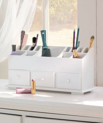 New White Wooden 3-Drawer Beauty Storage Organizer