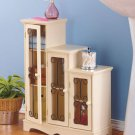 New White Wooden Triple Step Storage Cabinet with Shelves