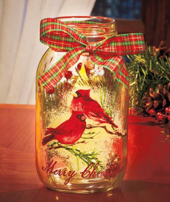 New Merry Christmas Cardinals Holiday Battery Operated LED Candle Jar
