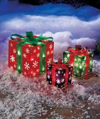 New Set of 3 Snowflake Lighted Christmas Holiday Gift Boxes