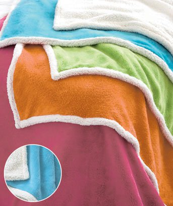 """New 50"""" x 60"""" Bright Turquoise Blue Plush Sherpa Polyester Throw"""