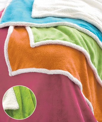 "New 50"" x 60"" Bright Green Plush Sherpa Polyester Throw"