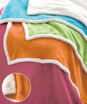 "New 50"" x 60"" Bright Orange Plush Sherpa Polyester Throw"