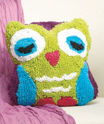 New Multicolored Purple Green Blue and Black Owl-Shaped Bed Pillow