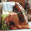 New Plush Animal Lovers' Brown Horses Polyester Throw Blanket