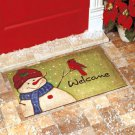 New Colorful Green Blue & Red Christmas Rustic Holiday Snowman Welcome Doormat