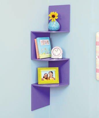 New Wooden Purple Corner Display Wall Shelve
