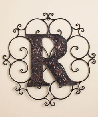 New Metal Monogram Wall Art Hanging Letter R