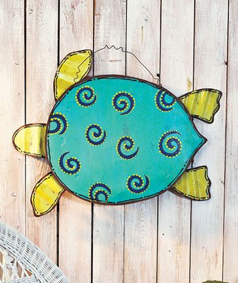 New Beach-Themed Metal Wall Hanging Turtle