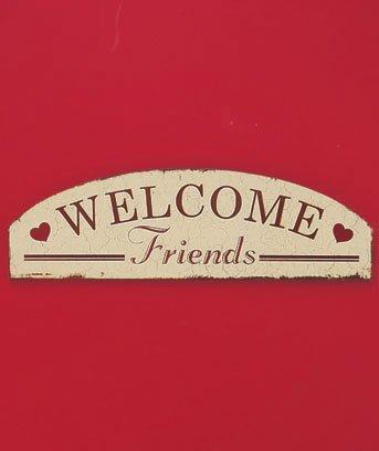 "New Wooden Construction Welcome Friends 20"" Sentiment Wall Art Hanging Plaque"
