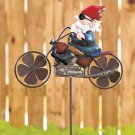 New Metal Motorcycle Yard / Garden Gnome Wind Spinner Stake