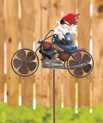 New Metal Motorcycle Yard / Garden Gnome Wind Spinner Stake