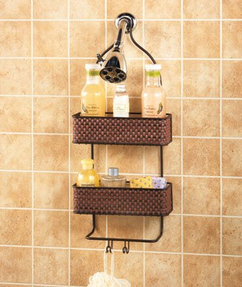 New Metal Bronze Finish Bathroom Shower Caddy Soap Shampoo Storage Holder