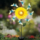 New Solar Powered Floral Windspinner Butterfly Garden Stake