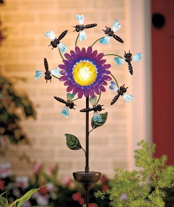 New Solar Powered Floral Windspinner Dragonfly Garden Stake
