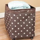 New Chocolate Brown With Dots Rolling Jumbo Storage Bin