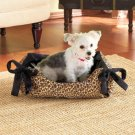 New Animal-Print Leopard Black and Brown Snuggle Pet Bed