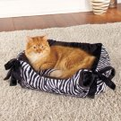 New Animal-Print Zebra Black and White Snuggle Pet Bed