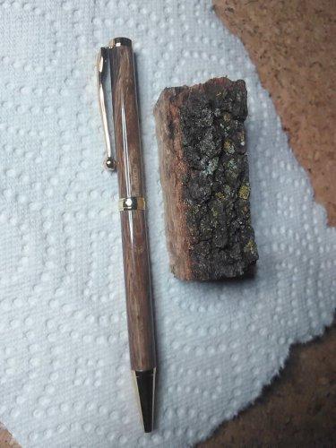 Homemade Turned Oak Gold Writing Pen Cross Style Black Ink