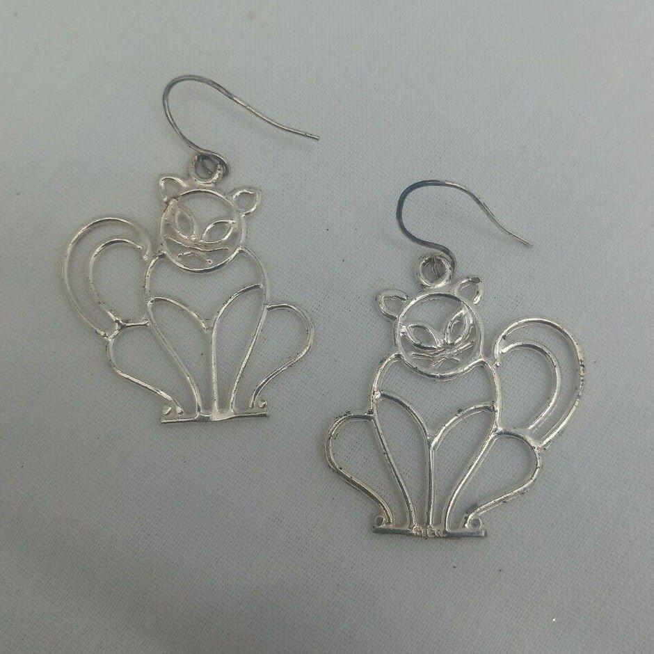 Cat Kitten Fancy Elegant Wire Sterling Silver 925 Pierced Dangle Vtg Earrings