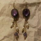 Vintage Sterling 925 Southwestern Dangle Earrings Pearls Purple Stone Signed OT