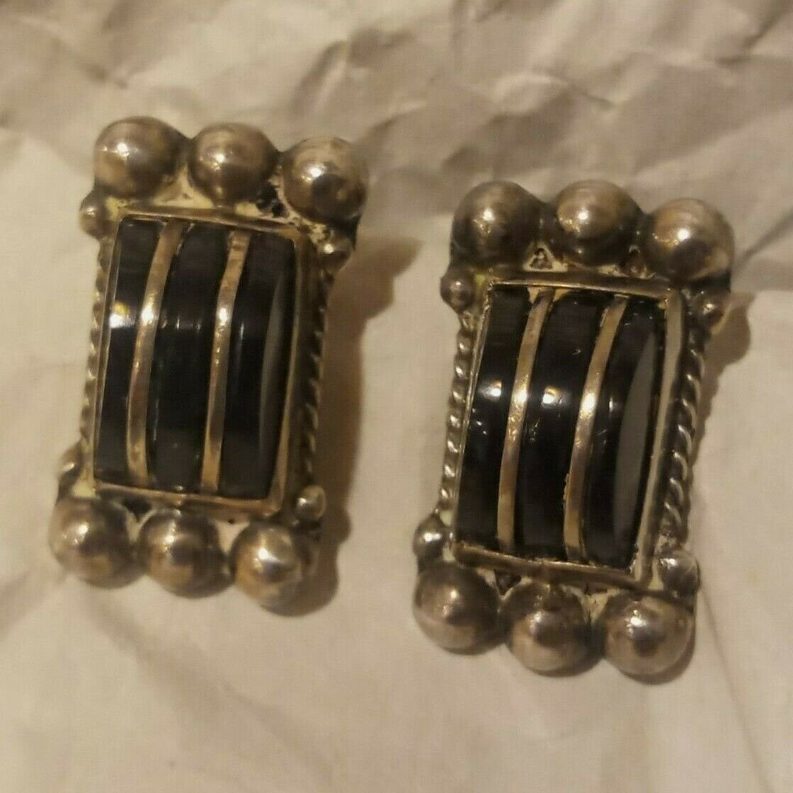 Vintage Mexico Sterling Onyx? Earrings Screw-Back Marked Silver 20s-40s
