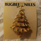 Vintage Gold Tone Rhinestone Christmas Tree Pin Brooch Bugbee & Niles New Ornate