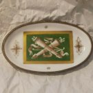 "Antique/Vtg France Hand Painted Trinket Dish Brass or Bronze Trim Bowl 5"" x 3"""