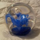 """Murano Style Art Glass Floral Flower Blue Paperweight 2 1/2"""" Tall Vintage"""